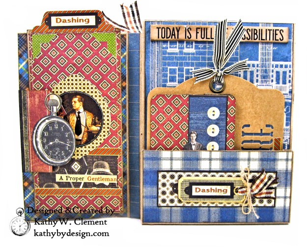 Graphic 45 A Proper Gentleman Card Folio by Kathy Clement for The Funkie Junkie Boutique Photo 06
