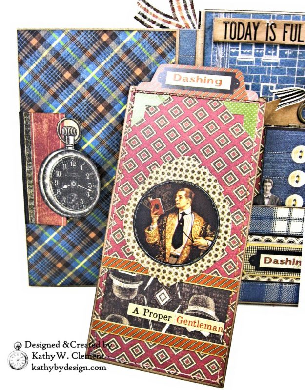 Graphic 45 A Proper Gentleman Card Folio by Kathy Clement for The Funkie Junkie Boutique Photo 10