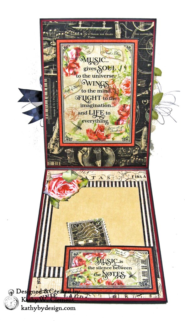 Graphic 45 Love Notes Shaker Card by Kathy Clement for Really Reasonable Ribbon Photo 03