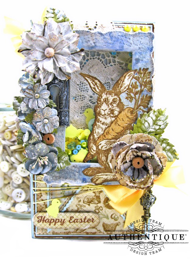 Authentique Abundant Peter Cottontail Shaker Card by Kathy Clement Kathy by Design Tim Holtz Lace Baseboard Frame Photo 04