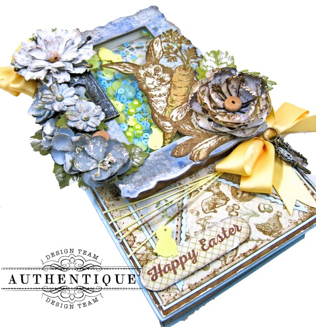 Authentique Abundant Peter Cottontail Shaker Card by Kathy Clement Kathy by Design Tim Holtz Lace Baseboard Frame Photo 05