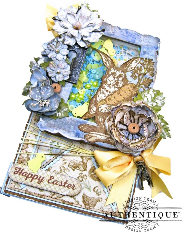 Authentique Abundant Peter Cottontail Shaker Card by Kathy Clement Kathy by Design Tim Holtz Lace Baseboard Frame Photo 02