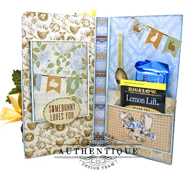 Authentique Abundant Peter Cottontail Shaker Card by Kathy Clement Kathy by Design Tim Holtz Lace Baseboard Frame Photo 06