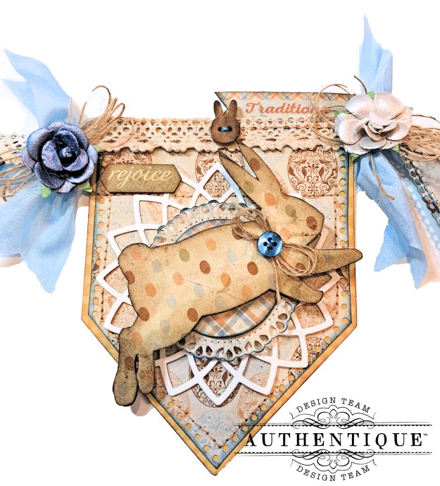 Authentique Abundant Easter Bunny Banner Eileen Hull House Pocket Stitchlets Die Tutorial by Kathy Clement Kathy by Design Photo 06