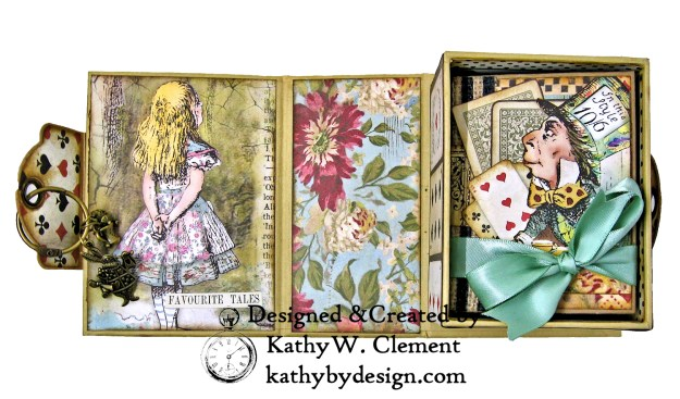 Stamperia Alice Tea Box Mini Album Tutorial by Kathy Clement Kathy by Design for The Funkie Junkie Boutique Photo 05