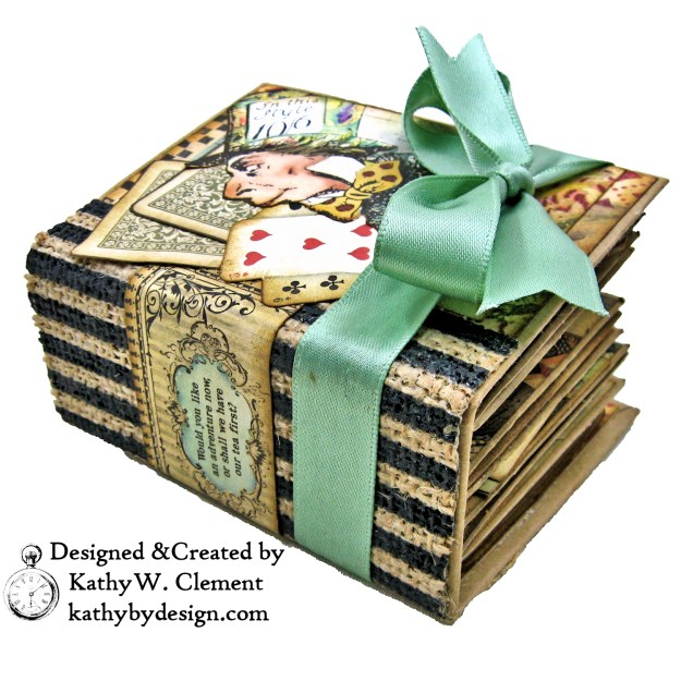 Stamperia Alice Tea Box Mini Album Tutorial by Kathy Clement Kathy by Design for The Funkie Junkie Boutique Photo 07
