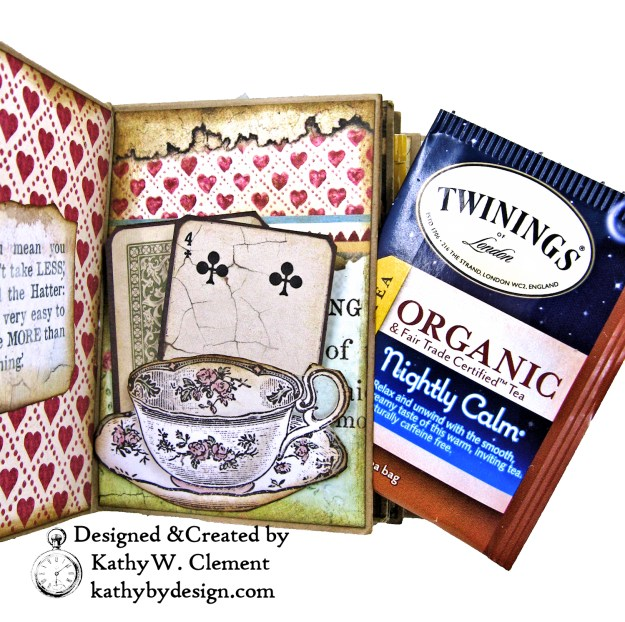 Stamperia Alice Tea Box Mini Album Tutorial by Kathy Clement Kathy by Design for The Funkie Junkie Boutique Photo 11