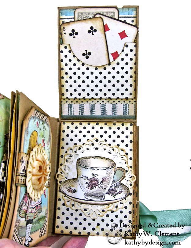 Stamperia Alice Tea Box Mini Album Tutorial by Kathy Clement Kathy by Design for The Funkie Junkie Boutique Photo 15