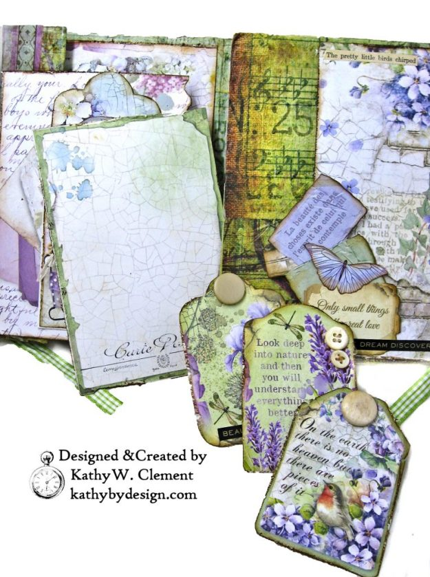 Stamperia Lilac Flower Alphabet Tissue Wrapped Journal Tim Holtz Lace Baseboard Frame Heartfelt Creations Lush Lilac by Kathy Clement for The Funkie Junkie Boutique Photo 06