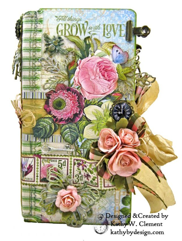Eileen Hull Journal Graphic 45 Bloom ButterBee Scraps Altered Metal Embellishments Tutorial by Kathy Clement Kathy by Design Photo 01