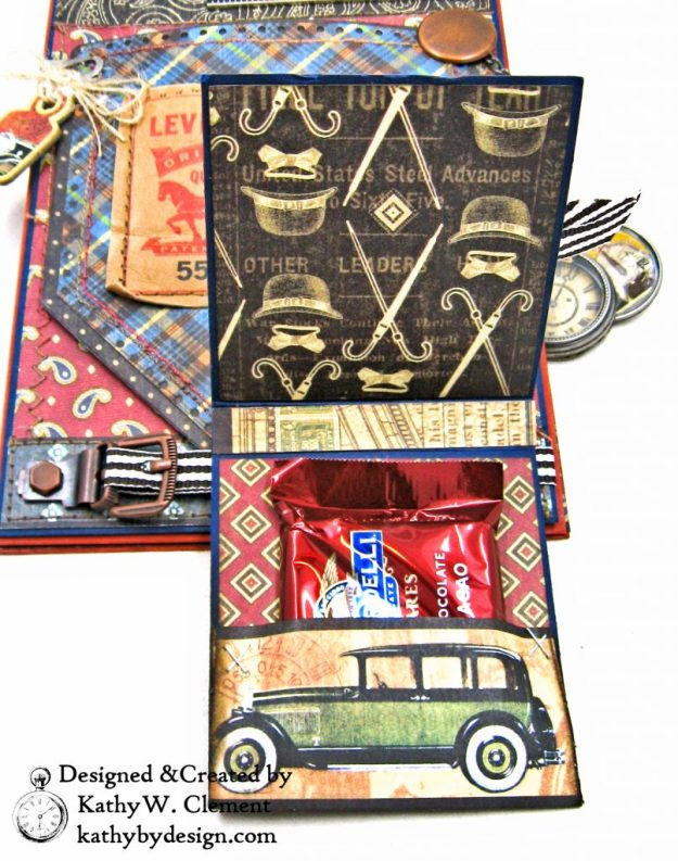 Graphic 45 Proper Gentleman Card with Eileen Hull House Pocket Stitchlets Dies by Kathy Clement kathy by design for The Funkie Junkie Boutique Photo 09