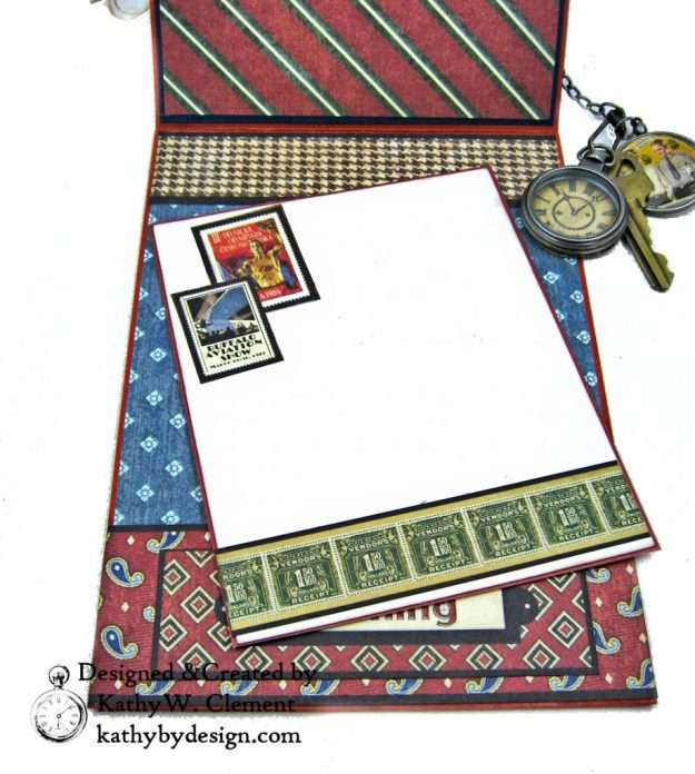 Graphic 45 Proper Gentleman Card with Eileen Hull House Pocket Stitchlets Dies by Kathy Clement kathy by design for The Funkie Junkie Boutique Photo 11
