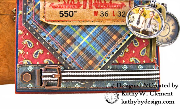Graphic 45 Proper Gentleman Card with Eileen Hull House Pocket Stitchlets Dies by Kathy Clement kathy by design for The Funkie Junkie Boutique Photo 06