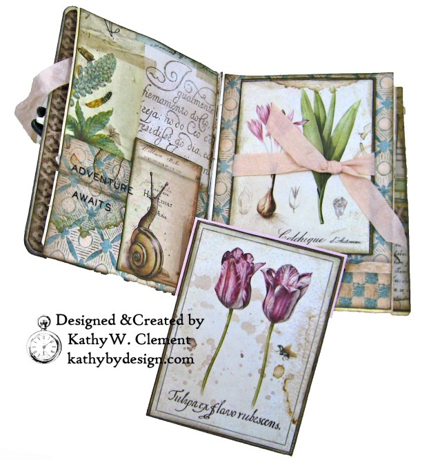 Stamperia Spring Botanic Eileen Hull Treasures Box and Notebook Tutorial Seth Apter Baked Velvet Embossing Powders by Kathy Clement Kathy by Design for The Funkie Junkie Boutique Photo 06