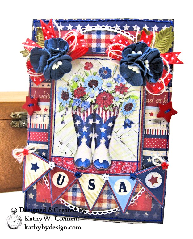 Authentique Liberty Star Spangled Cowgirl Boots Card Folio by Kathy Clement Kathy by Design for Really Reasonable Ribbon Photo 01