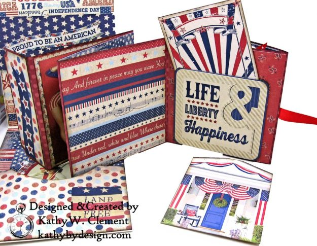 Authentique Liberty Star Spangled Cowgirl Boots Card Folio by Kathy Clement Kathy by Design for Really Reasonable Ribbon Photo 07