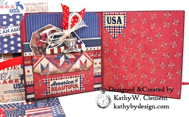 Authentique Liberty Star Spangled Cowgirl Boots Card Folio by Kathy Clement Kathy by Design for Really Reasonable Ribbon Photo 08