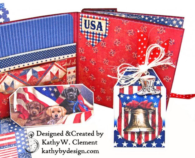 Authentique Liberty Star Spangled Cowgirl Boots Card Folio by Kathy Clement Kathy by Design for Really Reasonable Ribbon Photo 09
