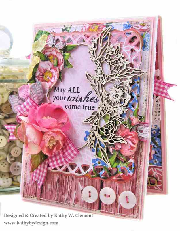 Laserowe Love Coral Romance Birthday Card by Kathy Clement Kathy by Design for Really Reasonable Ribbon Photo 01
