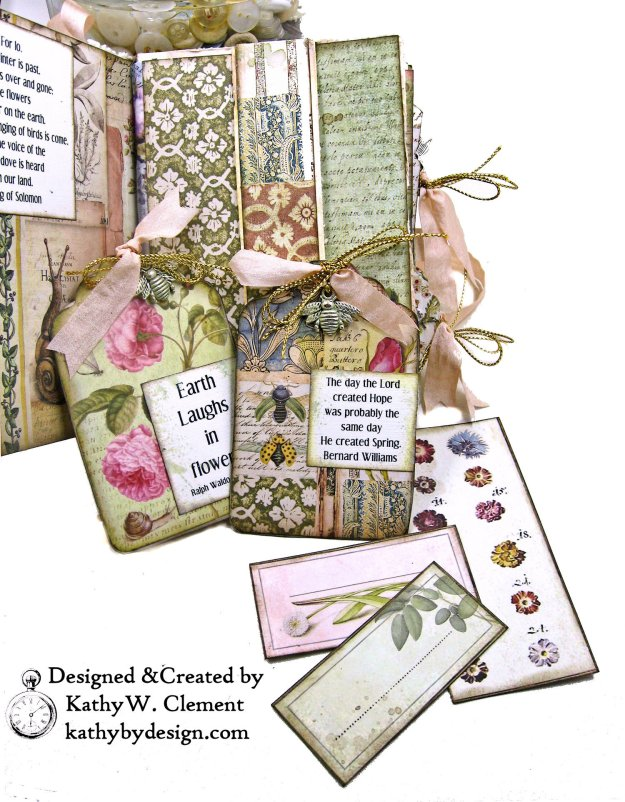 Eileen Hull Notebook Die Stamperia Spring Botanic Mini Album by Kathy Clement Kathy by Design for The Funkie Junkie Boutique Photo 04