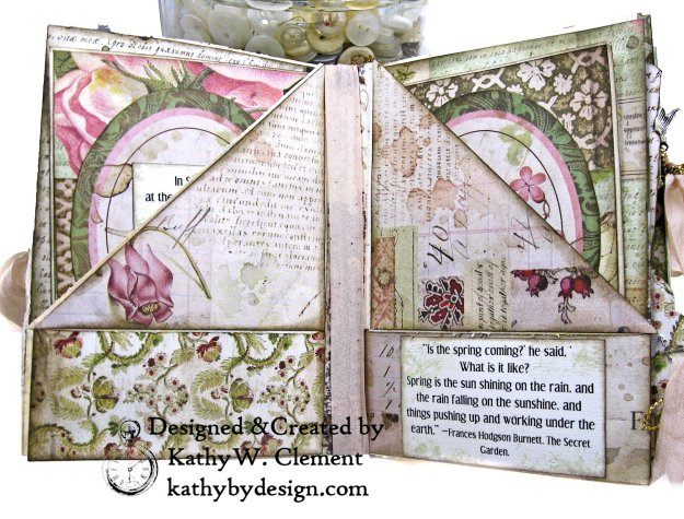 Eileen Hull Notebook Die Stamperia Spring Botanic Mini Album by Kathy Clement Kathy by Design for The Funkie Junkie Boutique Photo 05