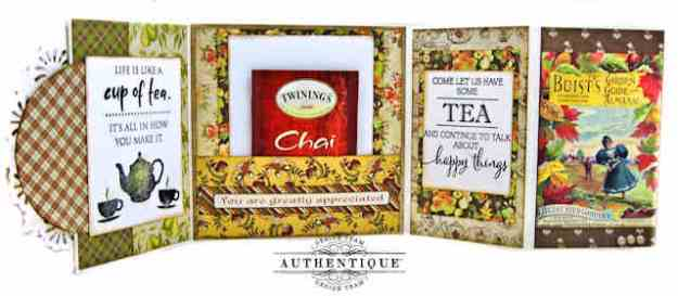 Penny Black Cup of Tea Stamps Double Z Fold Card Tutorial Kathy Clement Authentique Gracious