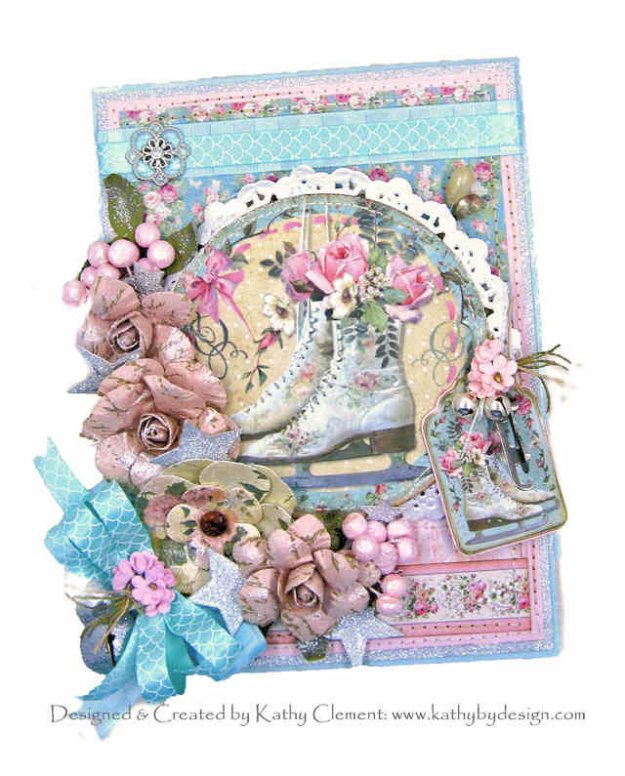 Stamperia Pink Christmas Ice Skates Card by Kathy Clement for Really Reasonable Ribbon Photo 01