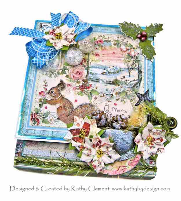 Stamperia Pink Christmas The Squirrel's Christmas Party Gift Box Folio by Kathy Clement Kathy by Design Photo 01