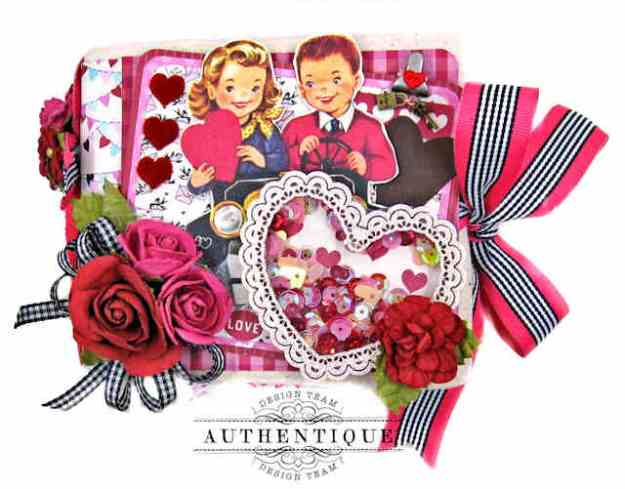 Authentique Love Notes Itty Bitty Mini Album Reneabouquets Lacy Heart Shaker Frame by Kathy Clement Kathy by Design Photo 01
