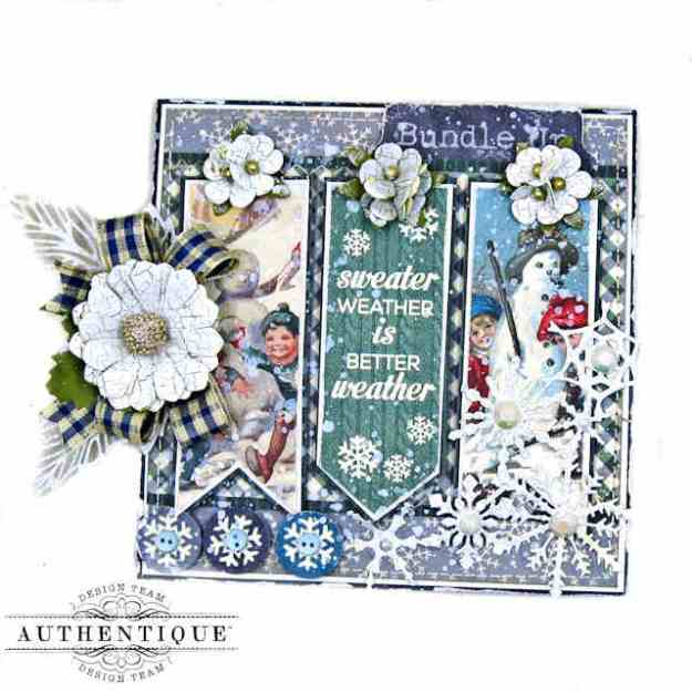 Bundle Up Wintry All Occasion Card Tutorial with Authentique Snowfall Collection by Kathy Clement Kathy by Design Photo 01