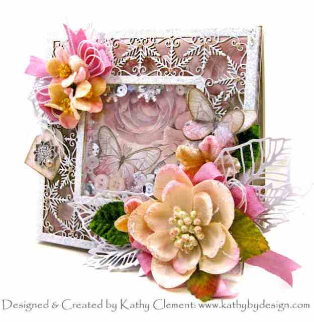 Stamperia Shabby Rose Winter Butterflies Shaker Card by Kathy Clement Kathy by Design for Really Reasonable Ribbon Photo 01