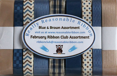 Really Reasonable Ribbon February Ribbon Club Assortment Blue & Brown