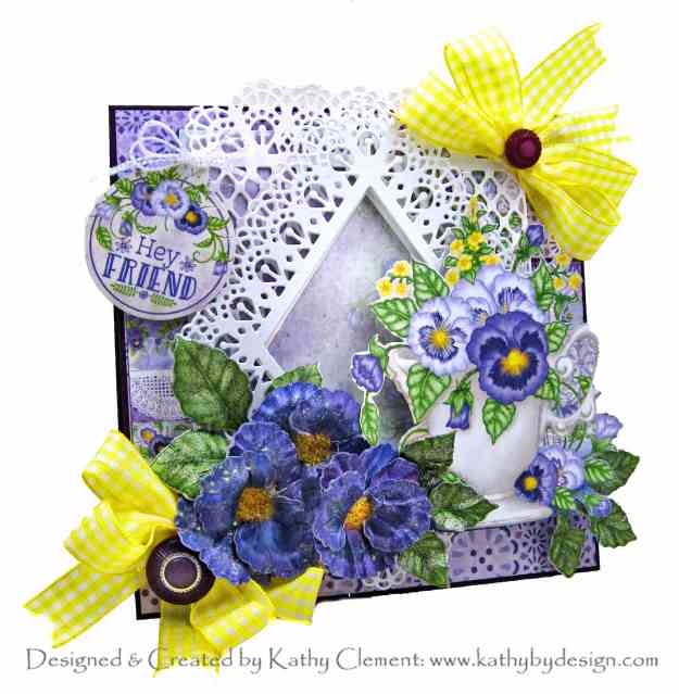 Heartfelt Creations Burst of Spring Cheerful Teacup Pansies Card by Kathy Clement Kathy by Design Photo 01