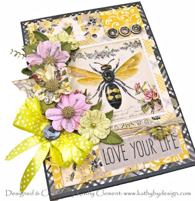 Love Your Life Bee Themed Card Gecko Galz What's the Buzz by Kathy Clement kathy by Design for Really Reasonable Ribbon Photo 01