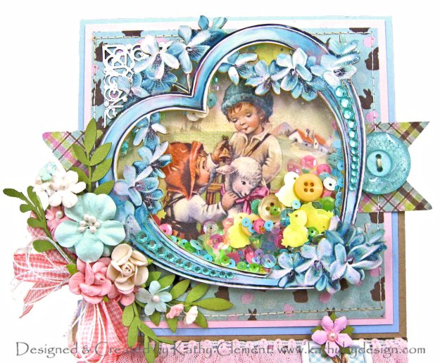 Reneabouquets Printed Beautiful Board Medium Patina Lilac Heart Frame Shaker by Kathy Clement Kathy by Design Photo 01