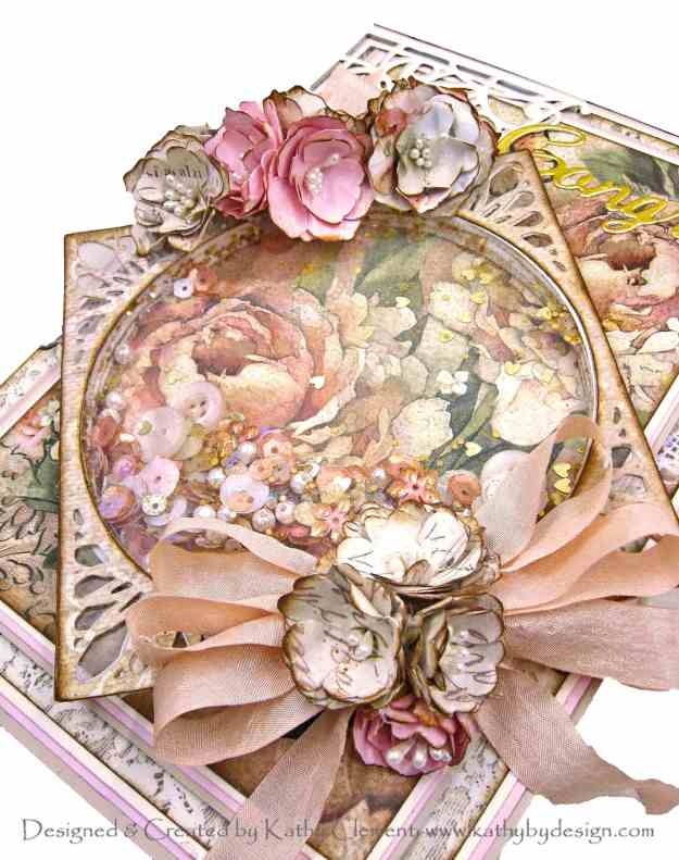 Stamperia Ceremony Shaker Card Folio Spellbinders APG Elegant Infinity Die of the Month by Kathy Clement Kathy by Design Photo 01