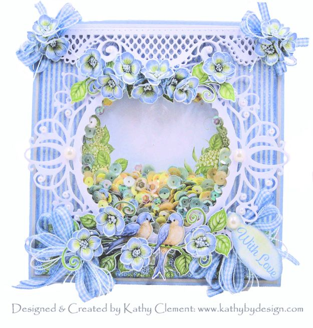Heartfelt Creations Cottage Garden Collection Bluebirds and Hydrangeas Shaker Card by Kathy Clement Kathy by Design Photo 01