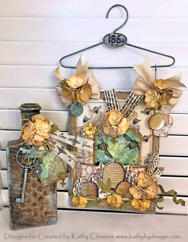 Craft Consortium Tell the Bees Altered Bottle and Hanger Card Deep Roots Workshop Kathy Clement Kathy by Design Photo 01