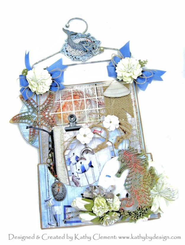 Ciao Bella Sounds of Summer Hanging Mini Album with Reneabouquets Beautiful Board and Eileen Hull Pocket Notebook Die by Kathy Clement Kathy by Design Photo 01