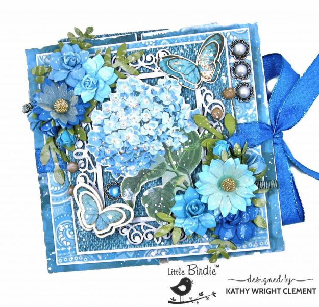 Little Birdie Crafts Aqua Medley, Fairy Sparkle Aqua Medley Flowers, Primed Chipboard Ornate Frame Double Gatefold Card Folio Tutorial by Kathy Clement Kathy by Design Photo 01