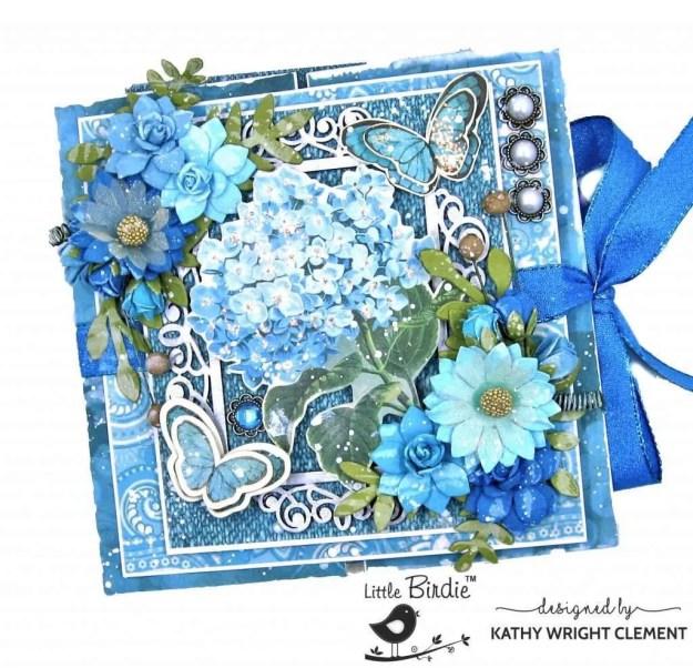 Little Birdie Crafts Aqua Medley, Fairy Sparkle Aqua Medley Flowers, Primed Chipboard Ornate Frame Double Gatefold Card Folio Tutorial by Kathy Clement Kathy by Design Photo 01