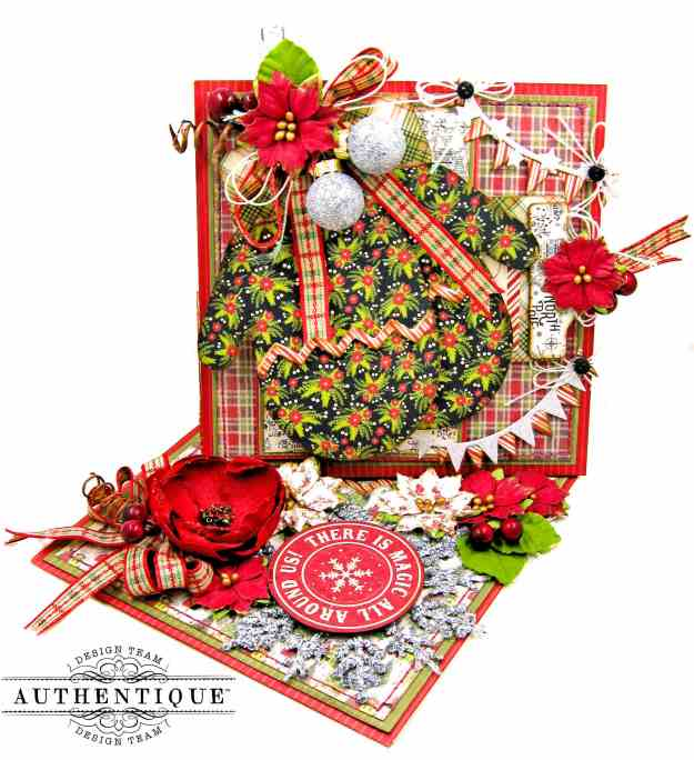 Eileen Hull Mitten Box Die Sizzix Chapter Christmas Mittens Twisted Easel Card Tutorial with Authentique Paper A Magical Christmas by Kathy Clement Kathy by Design Photo 01