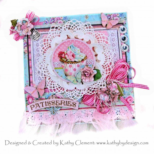 Stamperia Sweety Pop Up Card for Spellbinders July 2020 Club Kits Blog Hop APG Fanfare Die by Kathy Clement Kathy by Design Photo 01
