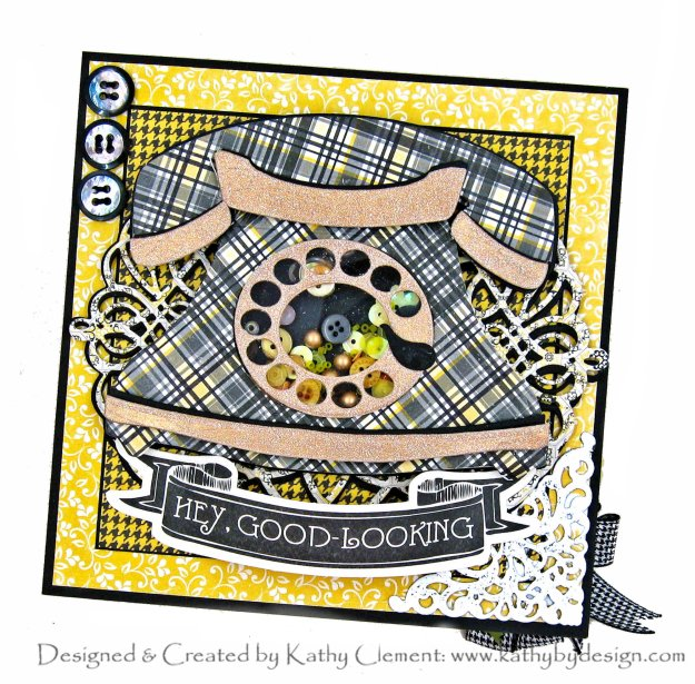Spellbinders Amazing Paper Grace Club Kit August 2020 Vintage Telephone Shaker Card by Kathy Clement Kathy by Design Photo 01