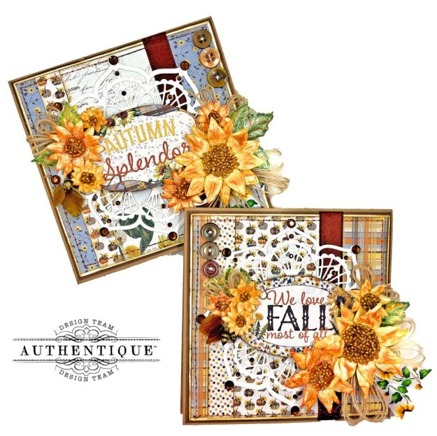 Authentique Splendor Fall Cards by Kathy Clement Kathy by Design for Really Reasonable Ribbon Photo 01