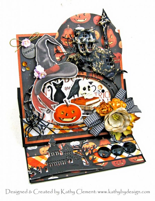 Haunted Mansion Pop Up Halloween Card Carta Bella Halloween Market by Kathy Clement Kathy by Design Photo 01