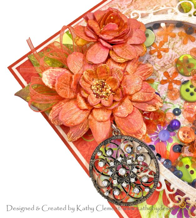 Heartfelt Creations Summer's Garden Autumn Zinnias Shaker Card by Kathy Clement Kathy by Design Photo 01
