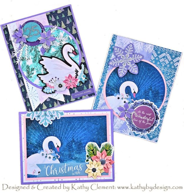 Spellbinders Sparkling Holiday Card Kit Christmas Swans by Kathy Clement Photo 01