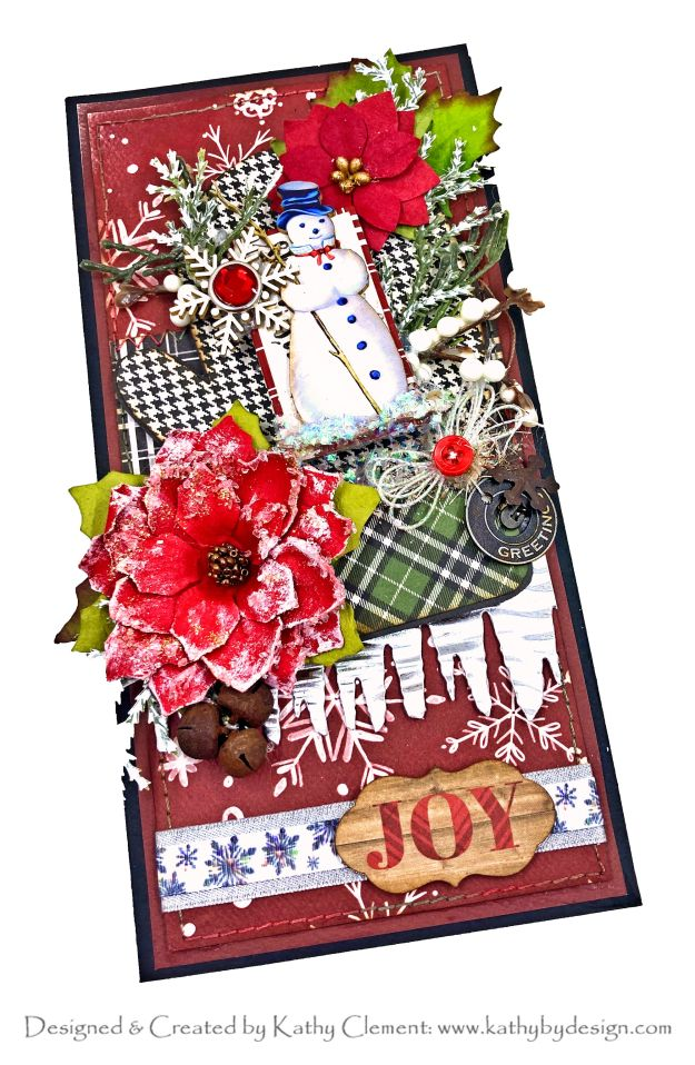 Reneabouquets Snowman Printed Beautiful Board Carta Bella Box Card Tutorial by Kathy Clement Kathy by Design Photo 01