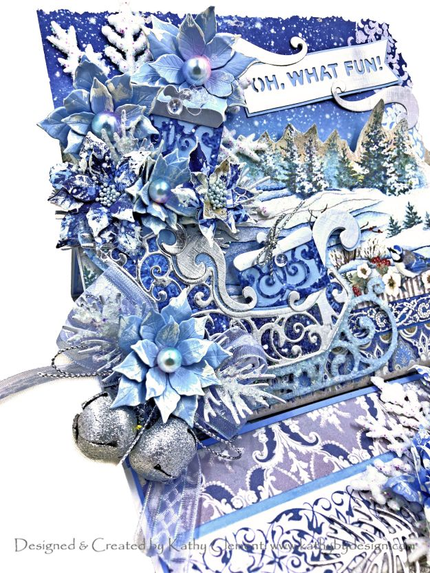 Spellbinders Amazing Paper Grace DOM November 2020 Vintage Poinsettia Sleigh Stamperia Winter Tales by Kathy Clement Kathy by Design Photo 01